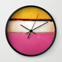 rothko Wall Clocks featuring Mark Rothko - White Center by bosphorus