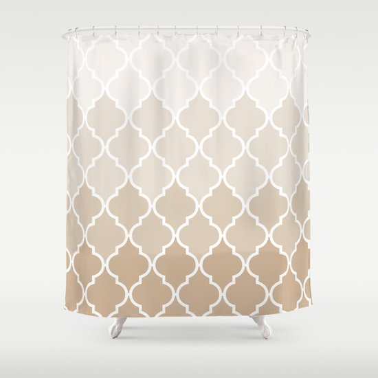 Pastel elegant brown cream quatrefoil pattern Shower Curtain - Pastel Elegant Brown Cream Quatrefoil Pattern Shower Curtain By