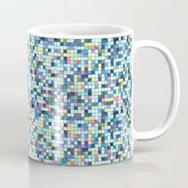 Blue White Yellow Tiling Colored Squares Coffee Mug