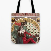 harley quinn Tote Bags featuring Harley Quinn by LaurenceBaldetti