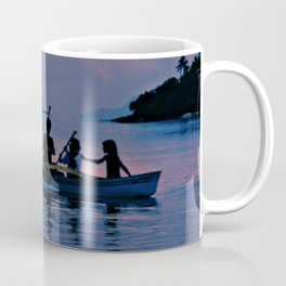 Canoe Under South Pacific Sunset Coffee Mug