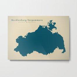 Modern Map - Mecklenburg-Vorpommern DE Metal Print