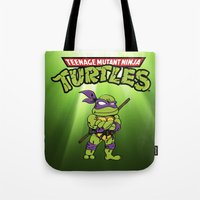 ninja turtle Tote Bags featuring Ninja Turtle by flydesign