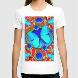 Red Fantasy Turquoise Butterflies Peacock Pattern Eyes Art T-shirt