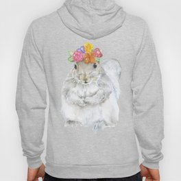 Gray Squirrel with a Floral Crown Watercolor Hoody