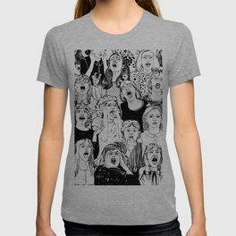 Wild girls. Black and white illustration. T-shirt
