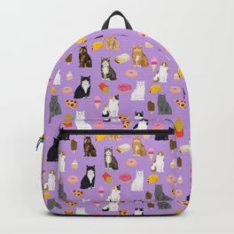 Cat breeds junk food pizza french fries food with cats gifts ice cream donuts Backpack