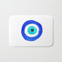 Single Evil Eye Amulet Talisman Ojo Nazar - on white Bath Mat