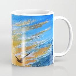 ocean sunset, original oil painting landscape, blue wall art, beach decor Coffee Mug