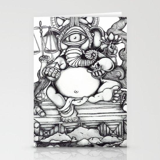Abstract Ganesh Stationery Cards