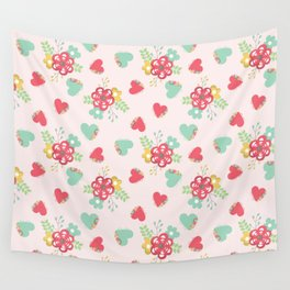 Pink and Blue Flowers and Hearts Wall Tapestry