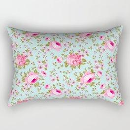 Modern neon pink teal roses hortensia floral Rectangular Pillow