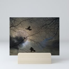 Crows Lit By A Full Moon Mini Art Print