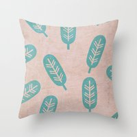 feather Throw Pillows featuring Feather by sinonelineman