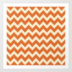 Orange Linen Chevron Art Print