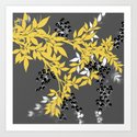 TREE BRANCHES YELLOW GRAY  AND BLACK LEAVES AND BERRIES by saundramyles
