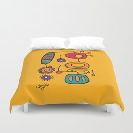 Feather Flower Chime in Color Duvet Cover