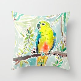 CUTIE the Orange-bellied Parrot Throw Pillow