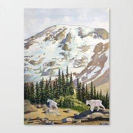 Mountain Goats at Mount Rainier Canvas Print