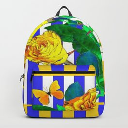 YELLOW SPRING ROSES & BUTTERFLIES WITH LILAC STRIPES Backpack