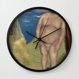 Nude Bear Leaning on a Tree Wall Clock