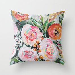 Boho pink and orange floral bouquet Throw Pillow
