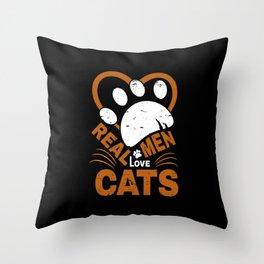Real Men Love cats Animal Pets Throw Pillow