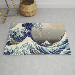 seascape painting japanese ukiyo e art the great wave off kanagawa Rug