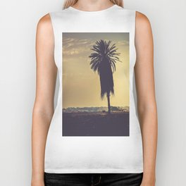 Andalusian sunset with silhouette palm tree. Retro toned Biker Tank
