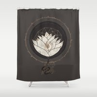 lotus flower Shower Curtains featuring Lotus by Hector Mansilla