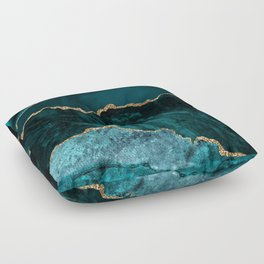 Teal Blue Emerald Marble Landscapes Floor Pillow