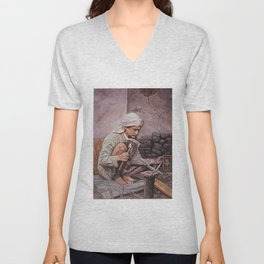 Blacksmith - oil painting old arabain worker man Unisex V-Neck