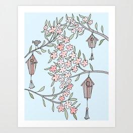 Birdhouse, Birdhouses in a tree Art Print