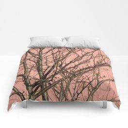 Bare tree against a pink wall Comforters