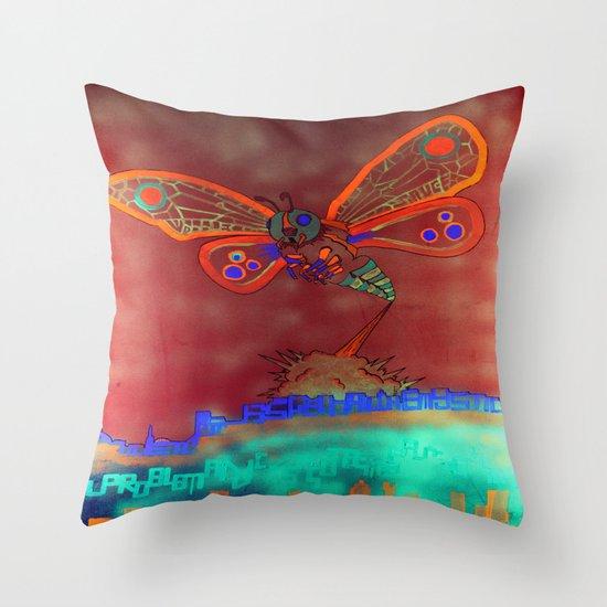 Bad Ash Mothra Funker Full (Wobblesauce) Throw Pillow