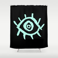 evil eye Shower Curtains featuring Evil Eye by schillustration