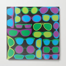 Sunglasses Pattern in Cool Colos Metal Print