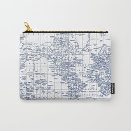 World Map Blue on White Carry-All Pouch