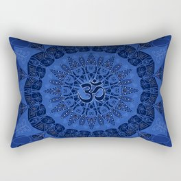 Mandala pattern yoga sign namaste navy dark blue cobalt Rectangular Pillow
