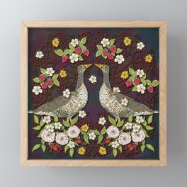 Celtic Geese with Summer Strawberries Framed Mini Art Print