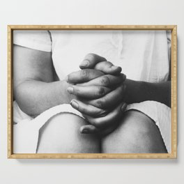 Hands - Alfred Stieglitz - Margaret Prosser's Clasped Hands in Lap Serving Tray