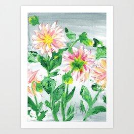 Dahlias on a cloudy day Art Print