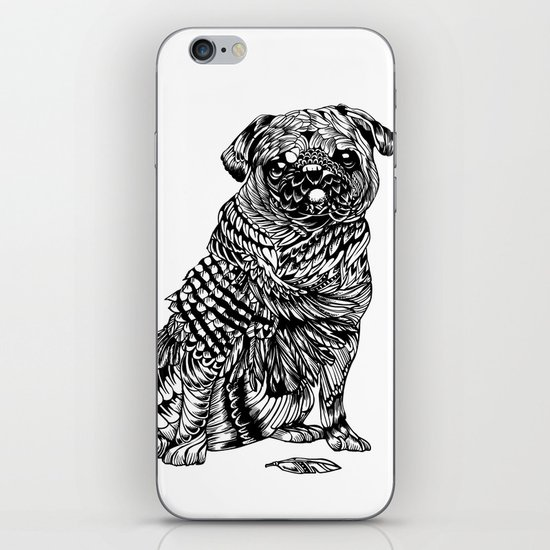 Pug Feather iPhone & iPod Skin