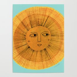 Sun Drawing - Gold and Blue Poster