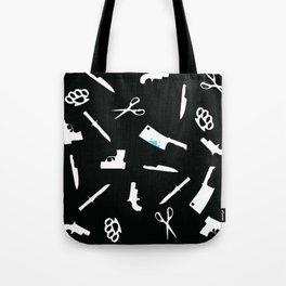 Black and White Weapons Tote Bag
