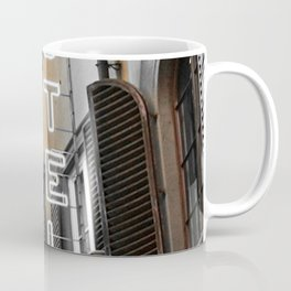 Hotel California // A Modern Artsy Style Graphic Photography of Neon Sign in Europe on Buildings Coffee Mug