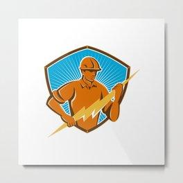 Electrician Construction Worker Retro Metal Print