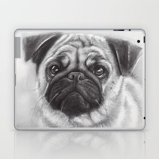 Cute Pug Dog Animal Pugs Portrait Laptop & iPad Skin