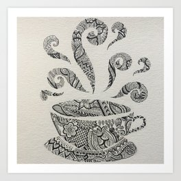 But first, Tea - tea coffee lover zentangle Art Print