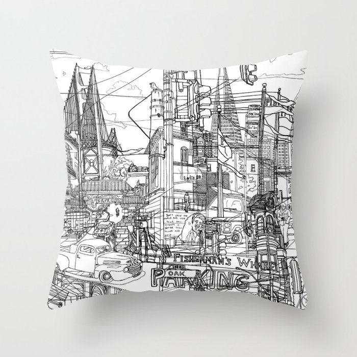San Francisco! (B&W) Throw Pillow